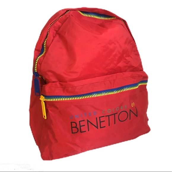 Benetton Backpack Rucksack Travel Holiday Retro Logo School Bag OFFICIAL